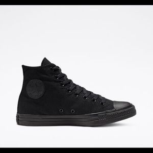 Size 9 - All Black Converse - High top - Like New